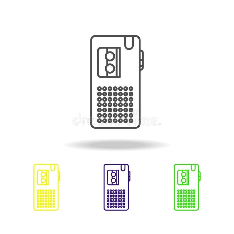 Icônes multicolores de dictaphone Élément du journalisme pour l'illustration mobile d'applis de concept et de Web Peut être emplo illustration libre de droits