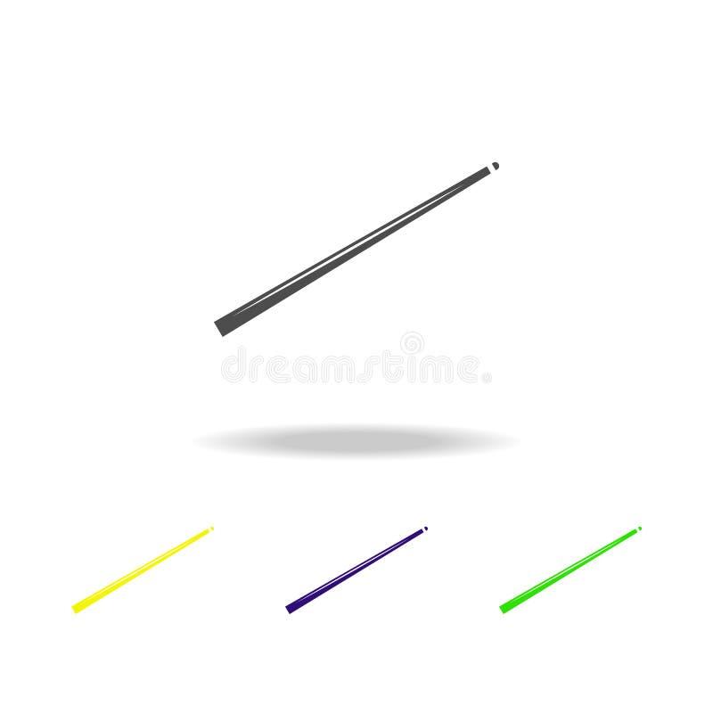 icônes multicolores de queue de billard L'élément de l'icône de sport peut être employé pour le Web, logo, l'appli mobile, UI, UX illustration stock