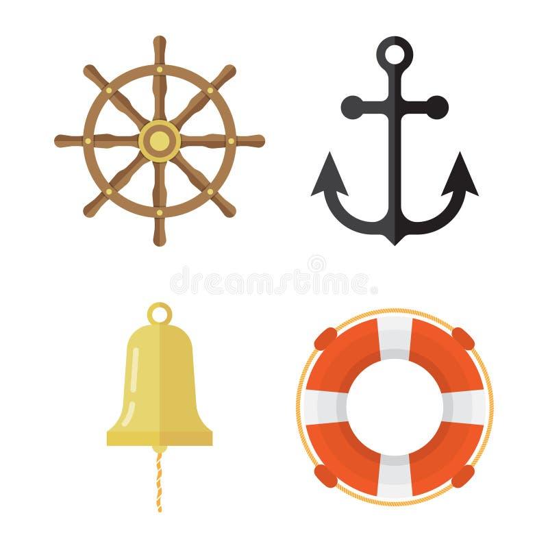 Icônes nautiques réglées Bouée de sauvetage, ancre, volant, cloche de bateau illustration de vecteur