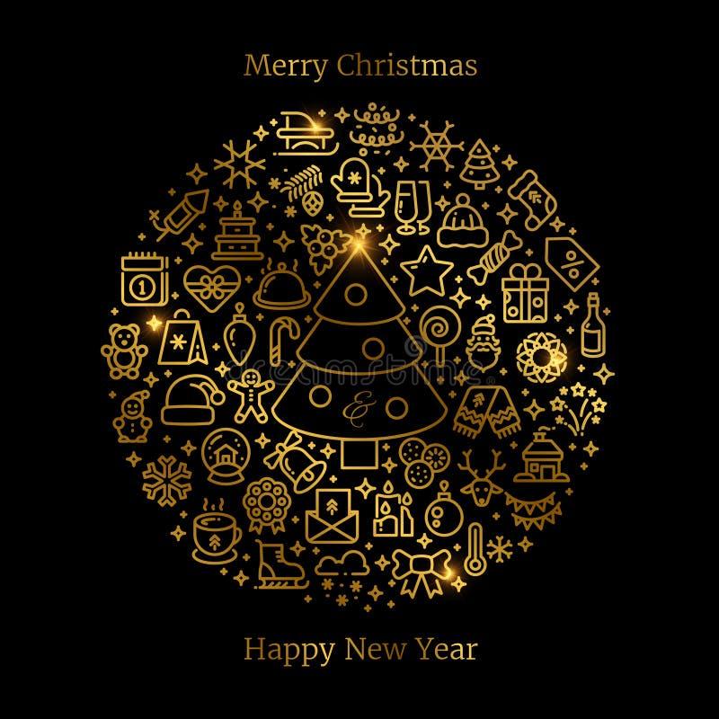 Icônes Noël d'or de schéma disposées dans l'illustration de vecteur de boule illustration libre de droits