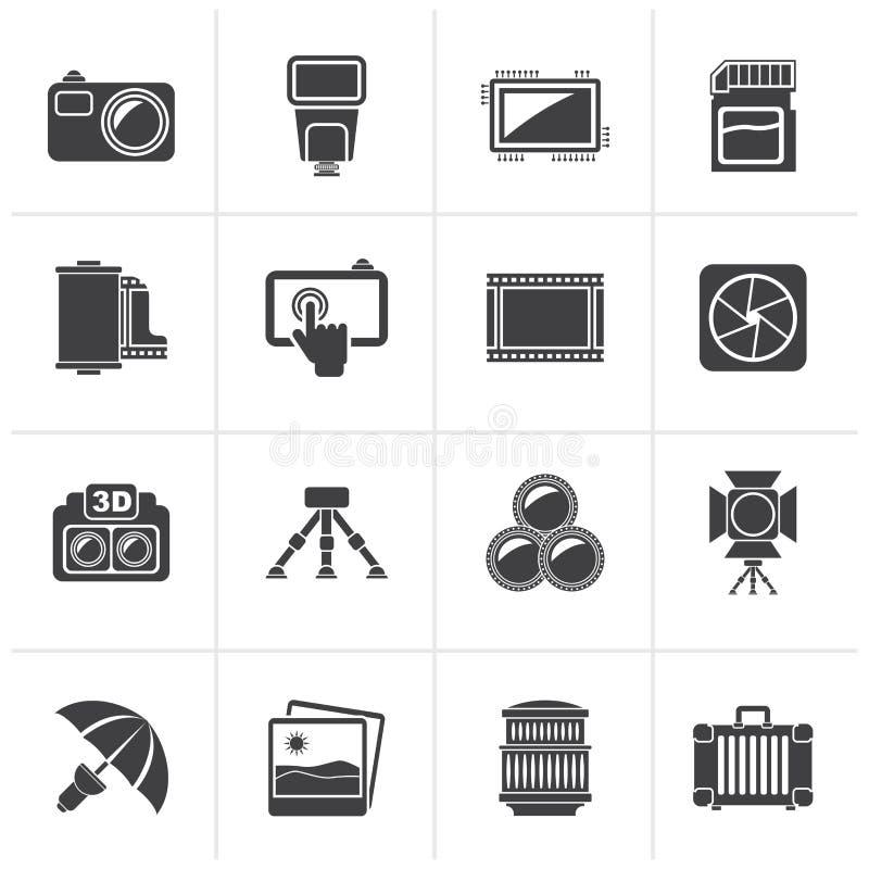 Icônes noires d'équipement de photographie illustration libre de droits