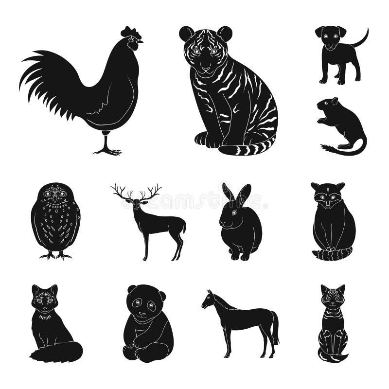 Icônes noires d'animaux réalistes dans la collection d'ensemble pour la conception Les animaux sauvages et domestiques dirigent l illustration de vecteur