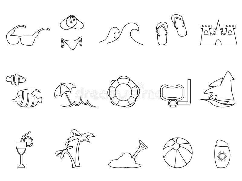 Icônes noires d'ensemble de plage réglées illustration de vecteur