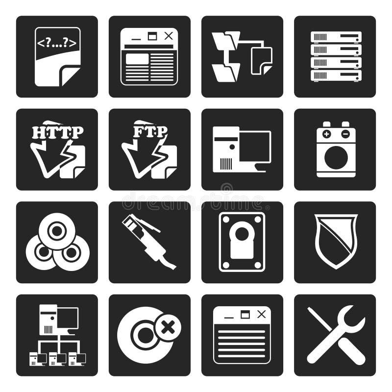 Icônes noires d'ordinateur de côté serveur illustration de vecteur