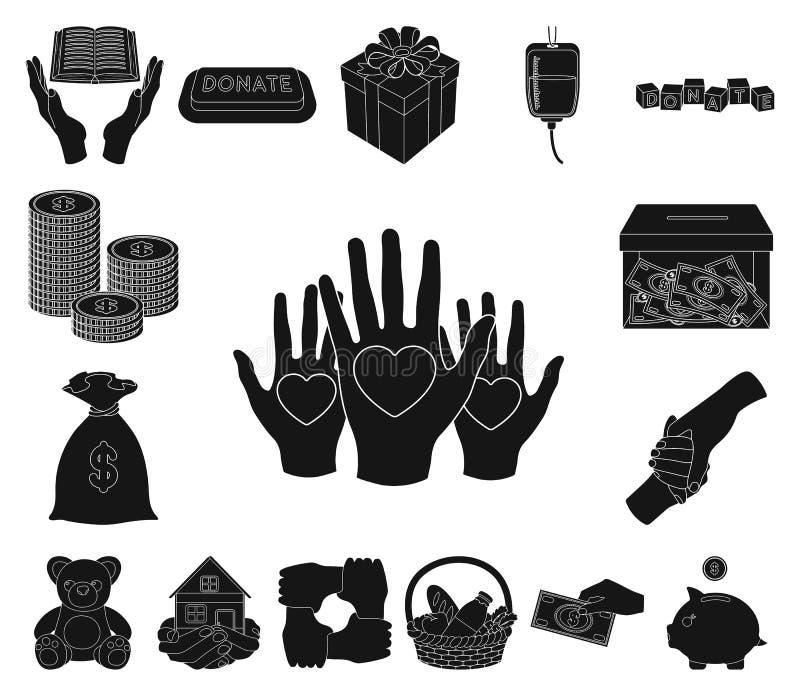 Icônes noires de charité et de donation dans la collection d'ensemble pour la conception Illustration de Web d'actions de symbole illustration de vecteur