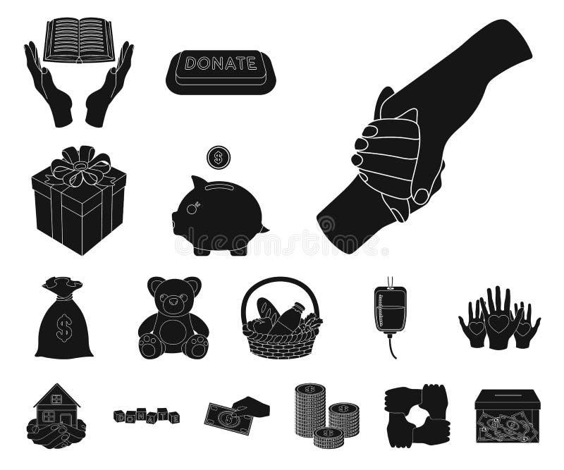 Icônes noires de charité et de donation dans la collection d'ensemble pour la conception Illustration de Web d'actions de symbole illustration stock