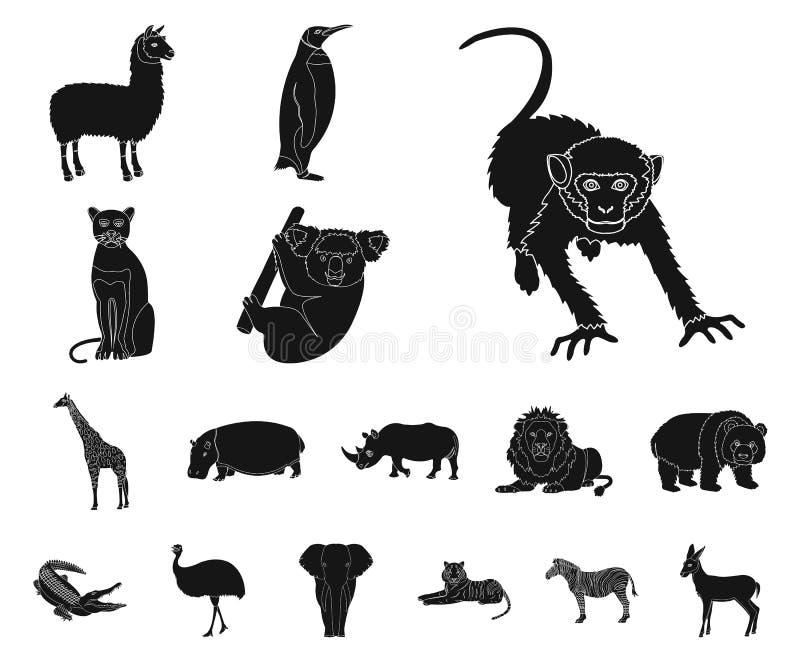 Icônes noires de différents animaux dans la collection d'ensemble pour la conception L'oiseau, le prédateur et l'herbivore dirige illustration stock