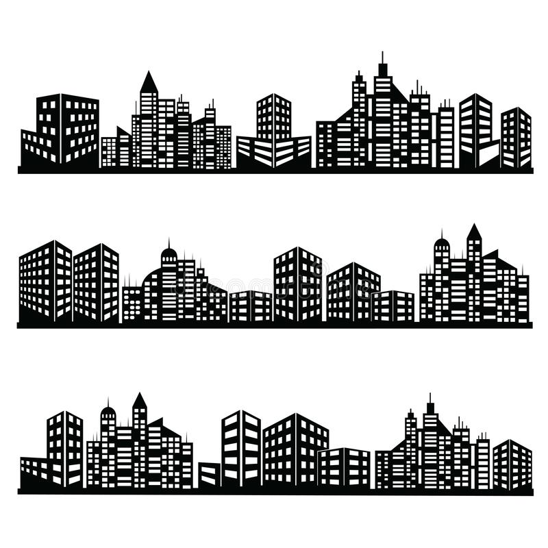 Icônes noires de ville de vecteur réglées illustration stock