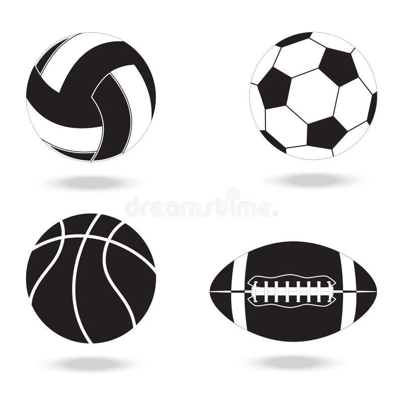 Icônes noires et blanches des boules pour différents sports illustration de vecteur