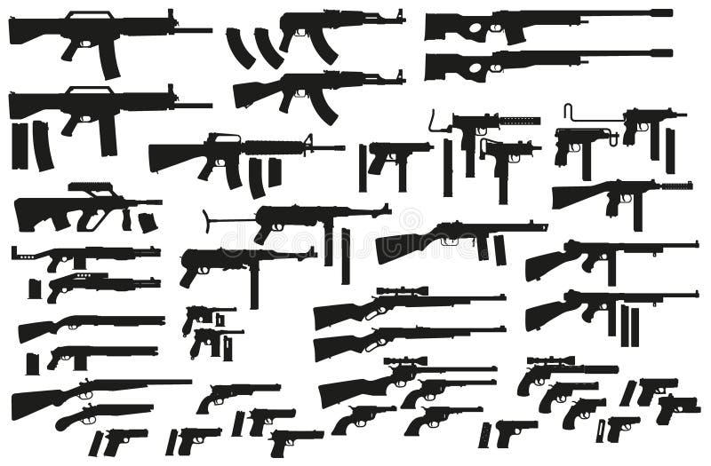 Icônes noires graphiques d'arme et d'arme à feu de silhouette illustration libre de droits