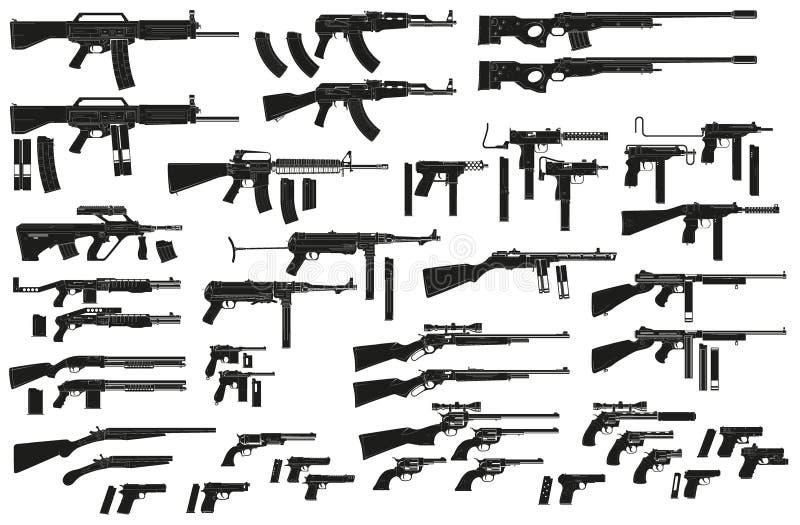 Icônes noires graphiques d'arme et d'arme à feu de silhouette illustration de vecteur