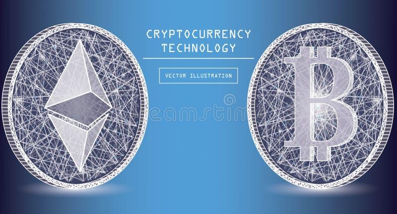 Icônes numériques et symboles de vecteur de devise d'Ethereum Cryptos pièces de monnaie de marque de devise illustration de vecteur