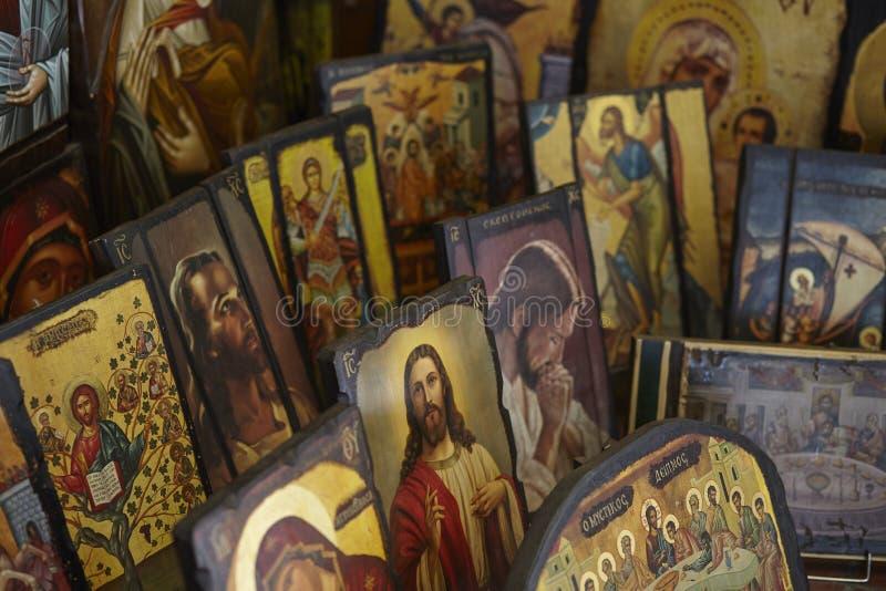 Icônes orthodoxes grecques, sélection des images bizantines photographie stock libre de droits