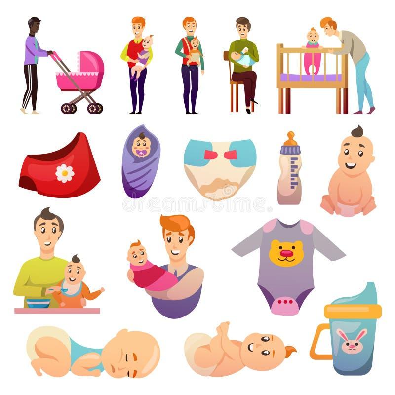 Icônes orthogonales de congé parental de pères illustration de vecteur