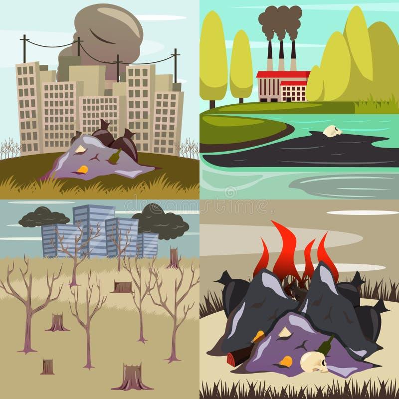Icônes orthogonales de désastres provoqués par le homme illustration libre de droits