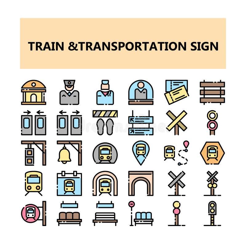 Icônes parfaites de pixel de signe de transport de train réglées dans le style rempli d'ensemble illustration de vecteur