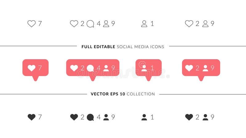 Icônes parfaites de vecteur pour la conception sociale de media Icônes sociales élégantes de media avec 3 styles différents Comme illustration libre de droits
