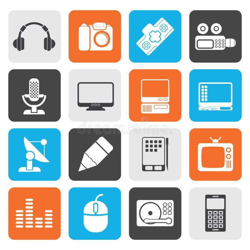 Icônes plates d'équipement de media illustration stock