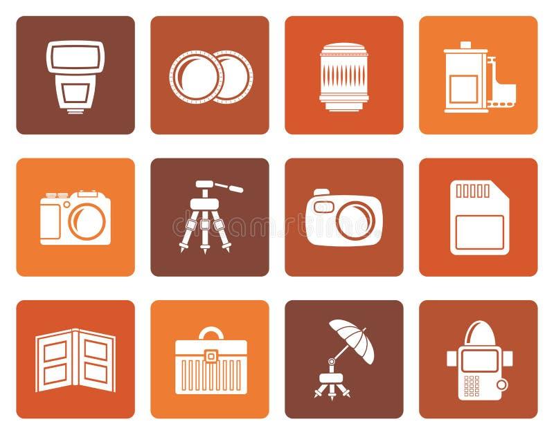 Icônes plates d'équipement de photographie illustration libre de droits