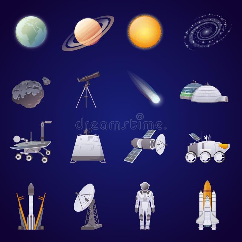 Icônes plates d'exploration d'espace réglées illustration de vecteur