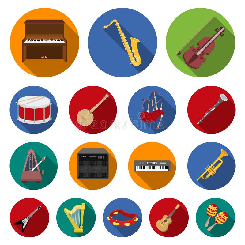 Icônes plates d'instrument de musique dans la collection d'ensemble pour la conception L'instrument de ficelle et de vent dirigen illustration stock