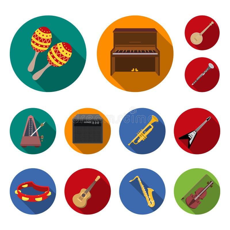 Icônes plates d'instrument de musique dans la collection d'ensemble pour la conception L'instrument de ficelle et de vent dirigen illustration de vecteur