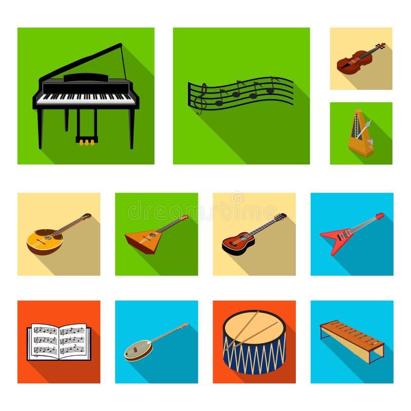Icônes plates d'instrument de musique dans la collection d'ensemble pour la conception Le symbole isométrique de vecteur d'instru illustration de vecteur