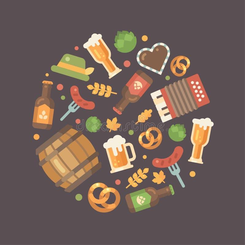 Icônes plates d'Oktoberfest disposées en cercle illustration de vecteur