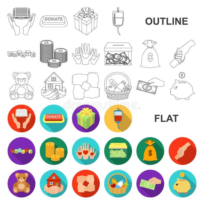Icônes plates de charité et de donation dans la collection d'ensemble pour la conception Illustration de Web d'actions de symbole illustration de vecteur