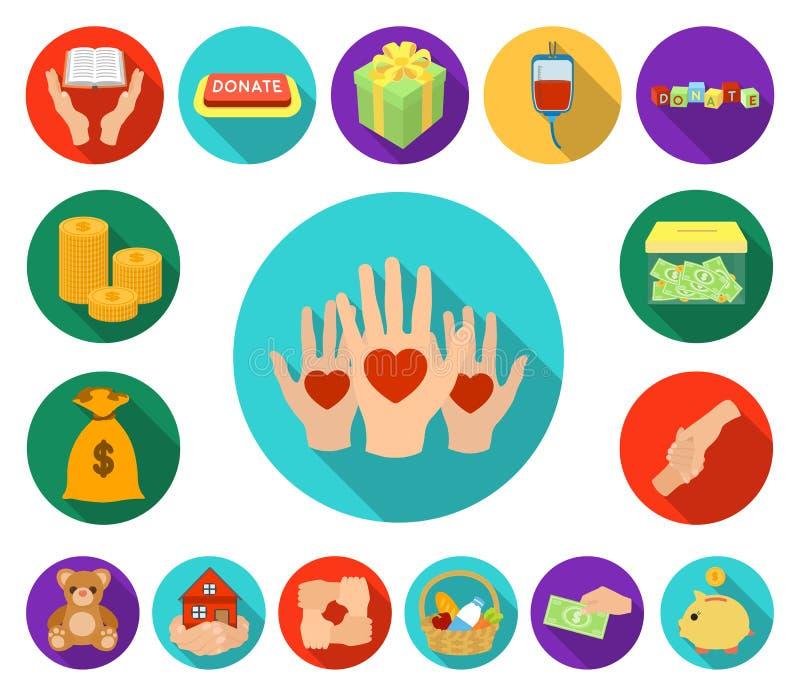 Icônes plates de charité et de donation dans la collection d'ensemble pour la conception Illustration de Web d'actions de symbole illustration stock