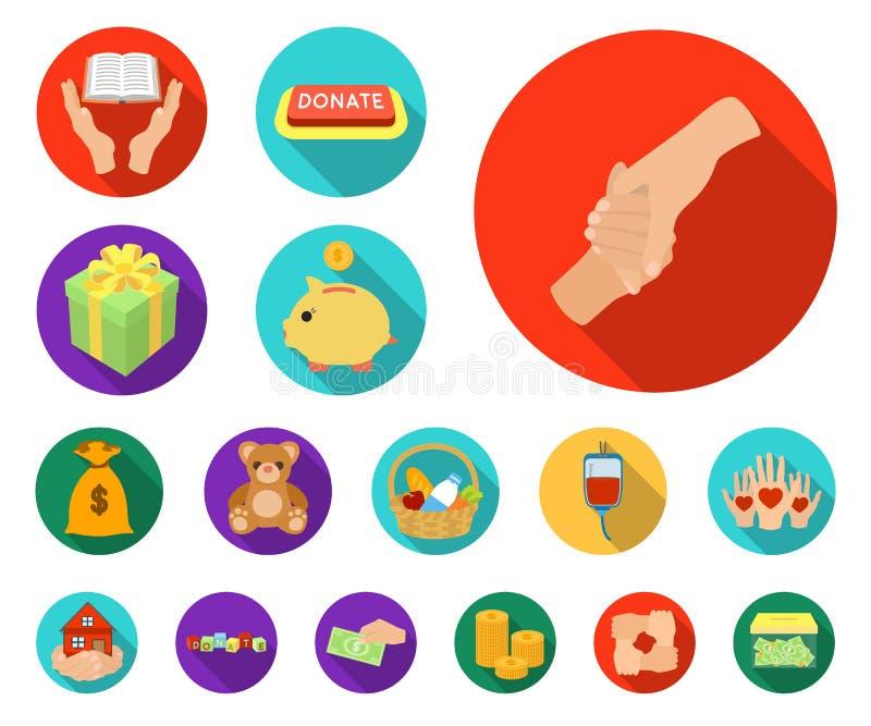 Icônes plates de charité et de donation dans la collection d'ensemble pour la conception Illustration de Web d'actions de symbole illustration libre de droits