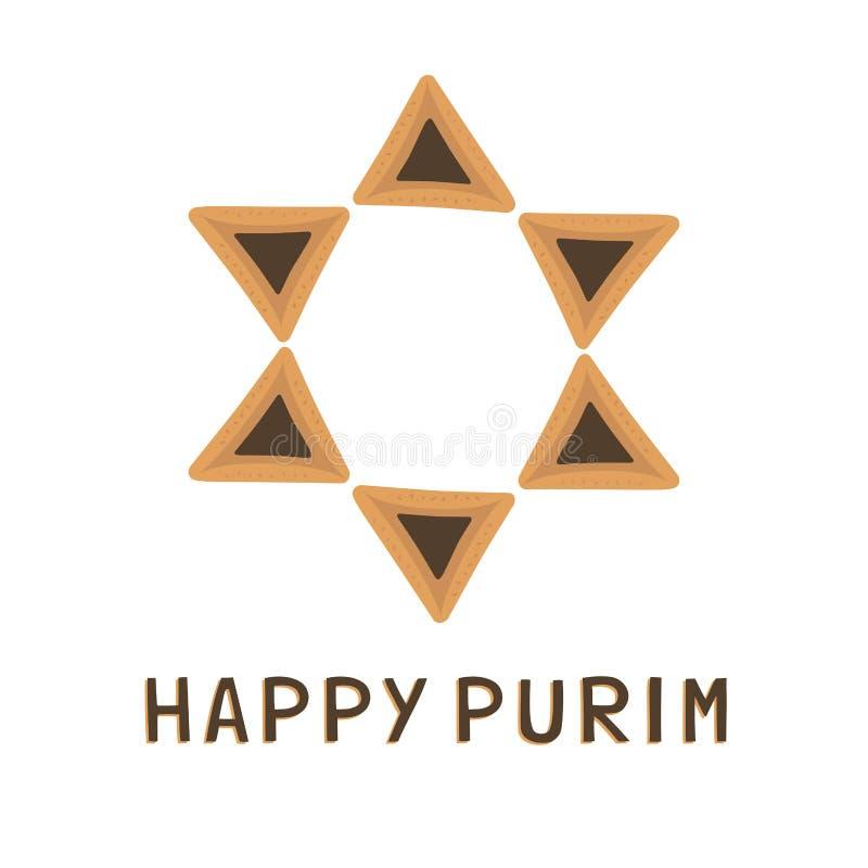 Icônes plates de conception de vacances de Purim des hamantashs dans l'étoile de David s illustration stock