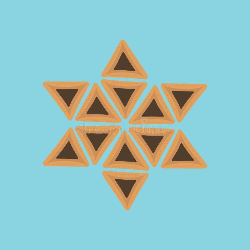 Icônes plates de conception de vacances de Purim des hamantashs dans l'étoile de David s illustration de vecteur