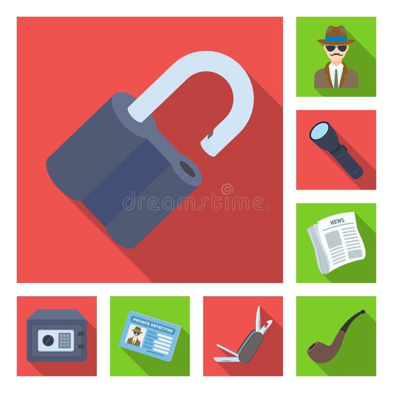Icônes plates de détective et d'attributs dans la collection d'ensemble pour la conception Illustration de Web d'actions de symbo illustration de vecteur