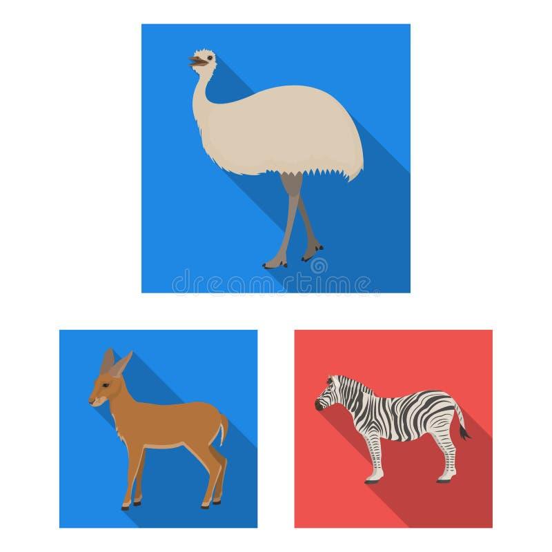 Icônes plates de différents animaux dans la collection d'ensemble pour la conception L'oiseau, le prédateur et l'herbivore dirige illustration de vecteur