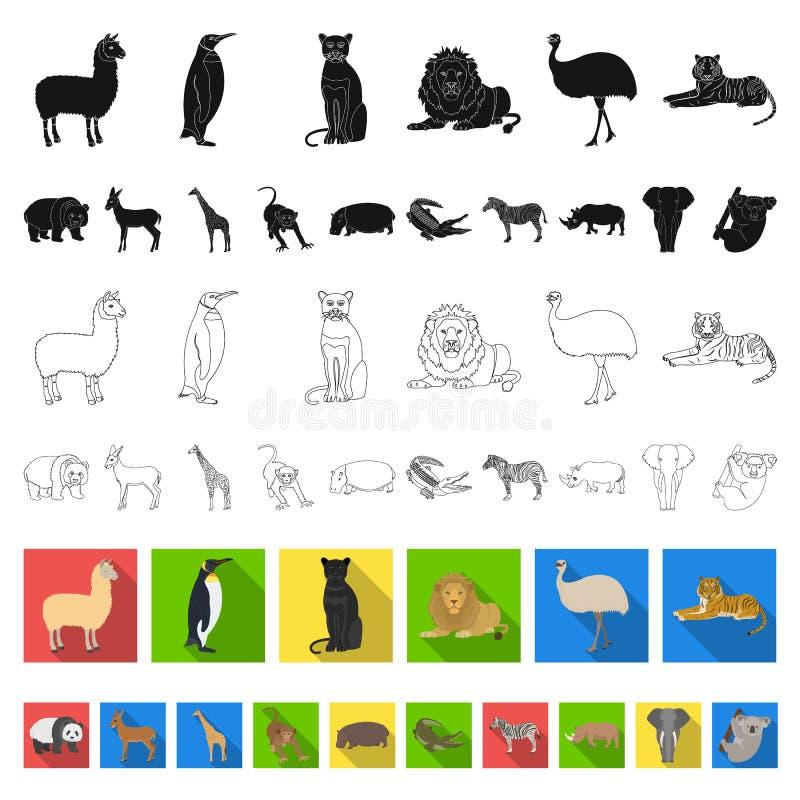 Icônes plates de différents animaux dans la collection d'ensemble pour la conception L'oiseau, le prédateur et l'herbivore dirige illustration stock