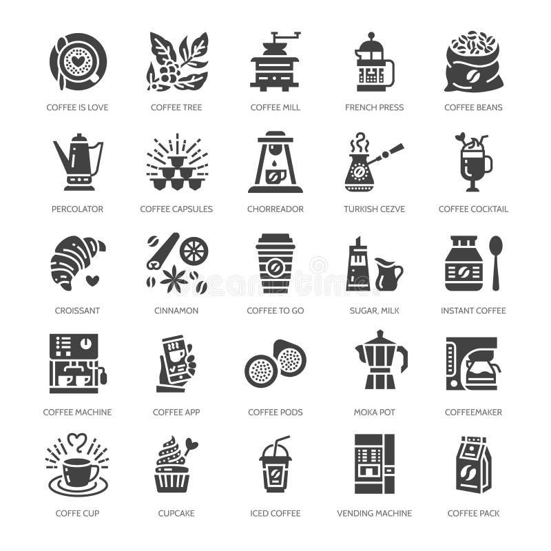 Icônes plates de glyph d'équipement à café Éléments - pot de moka, presse de Français, broyeur, expresso, vente, usine illustration de vecteur