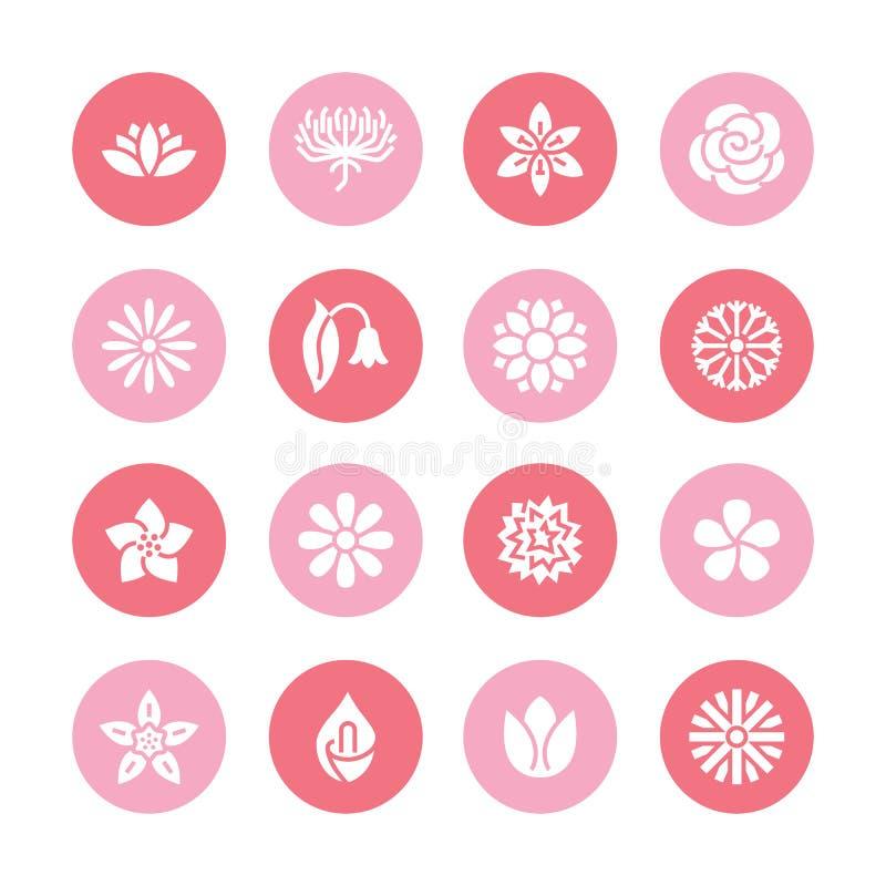 Icônes plates de glyph de fleurs Belles usines de jardin - camomille, tournesol, fleur rose, lotus, oeillet, pissenlit illustration libre de droits