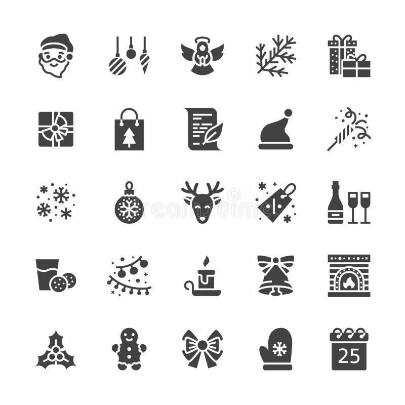 Icônes plates de glyph de Joyeux Noël La branche de sapin, flocons de neige, les présents, lettre au père noël, allume la décorat illustration de vecteur