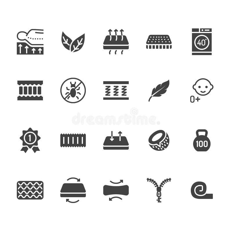 Icônes plates de glyph de matelas orthopédique Propriétés de matelas - anti acarides de la poussière, appui d'épine, couverture l illustration de vecteur