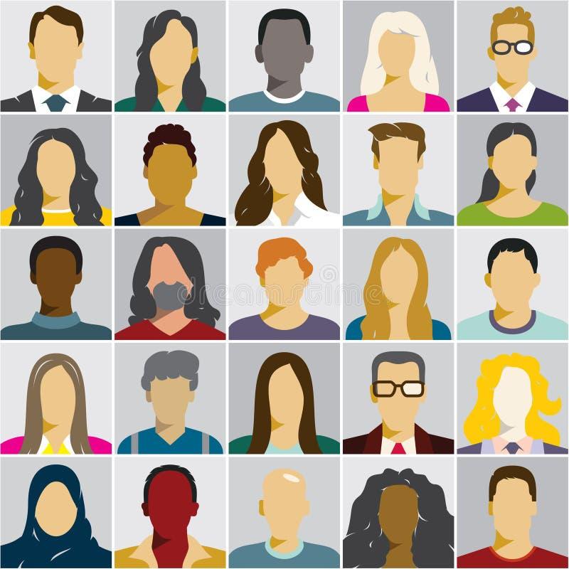 Icônes plates de personnes, avatars, visage de femme, visage d'homme illustration libre de droits