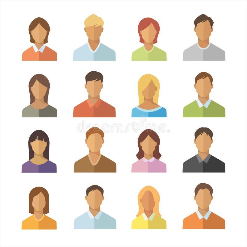 Icônes plates de personnes réglées Hommes et collection différente de signe de nationalité de femme Icône anonyme d'utilisateur photos stock