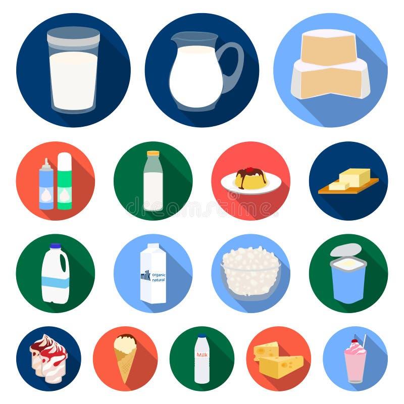 Icônes plates de produit laitier dans la collection d'ensemble pour la conception Le lait et la nourriture dirigent l'illustratio illustration stock