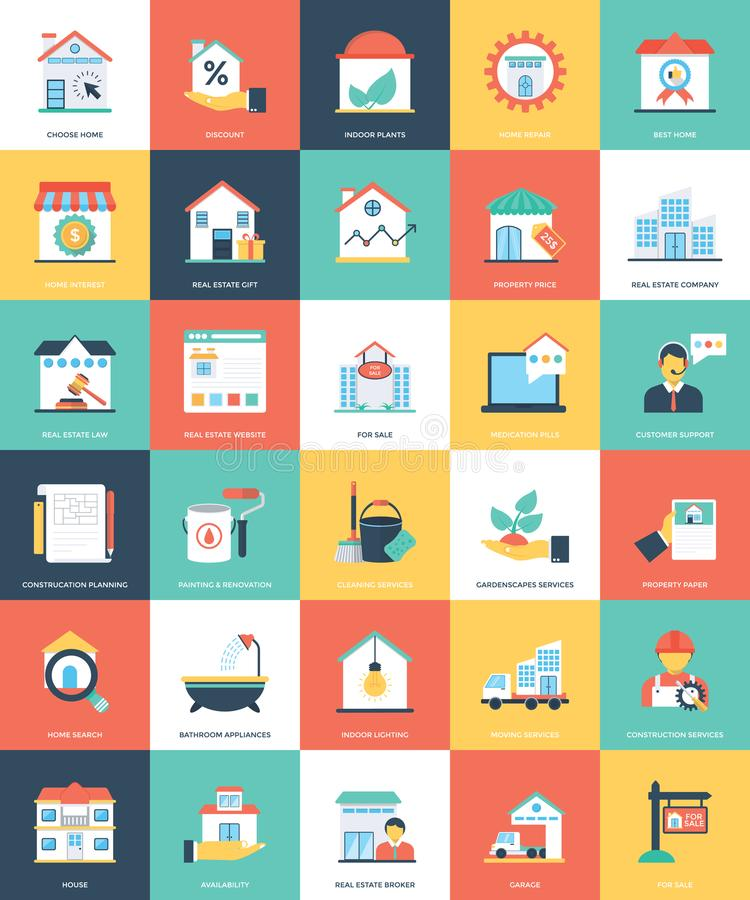 Icônes plates de Real Estate illustration libre de droits