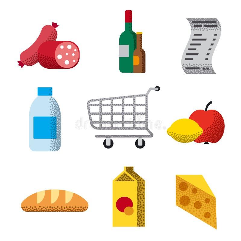 Icônes plates de supermarché illustration stock