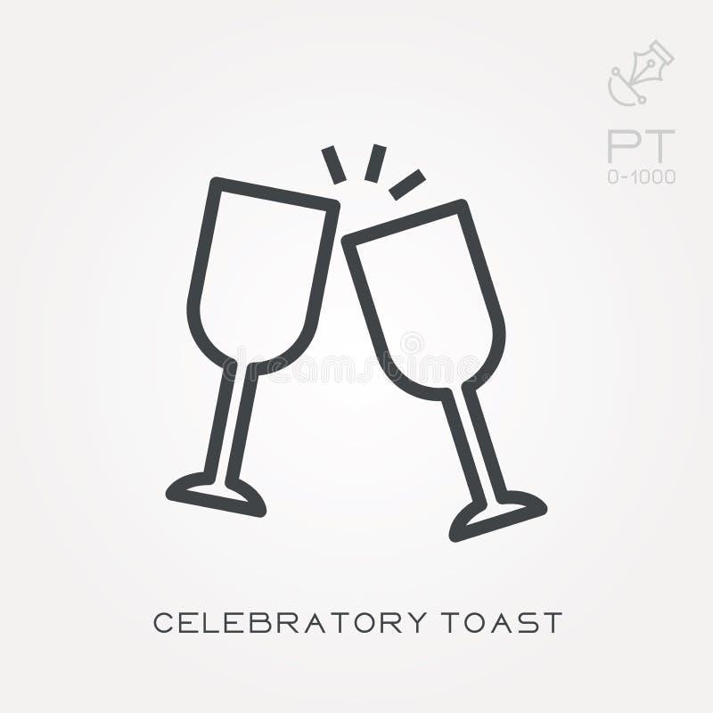 Icônes plates de vecteur avec du pain grillé de célébration illustration libre de droits