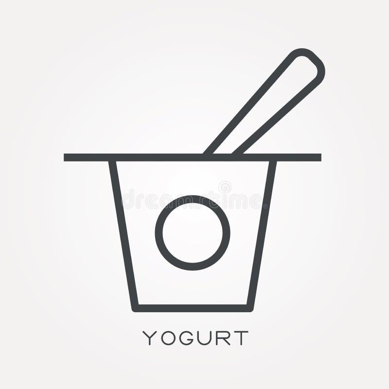 Icônes plates de vecteur avec du yaourt illustration libre de droits