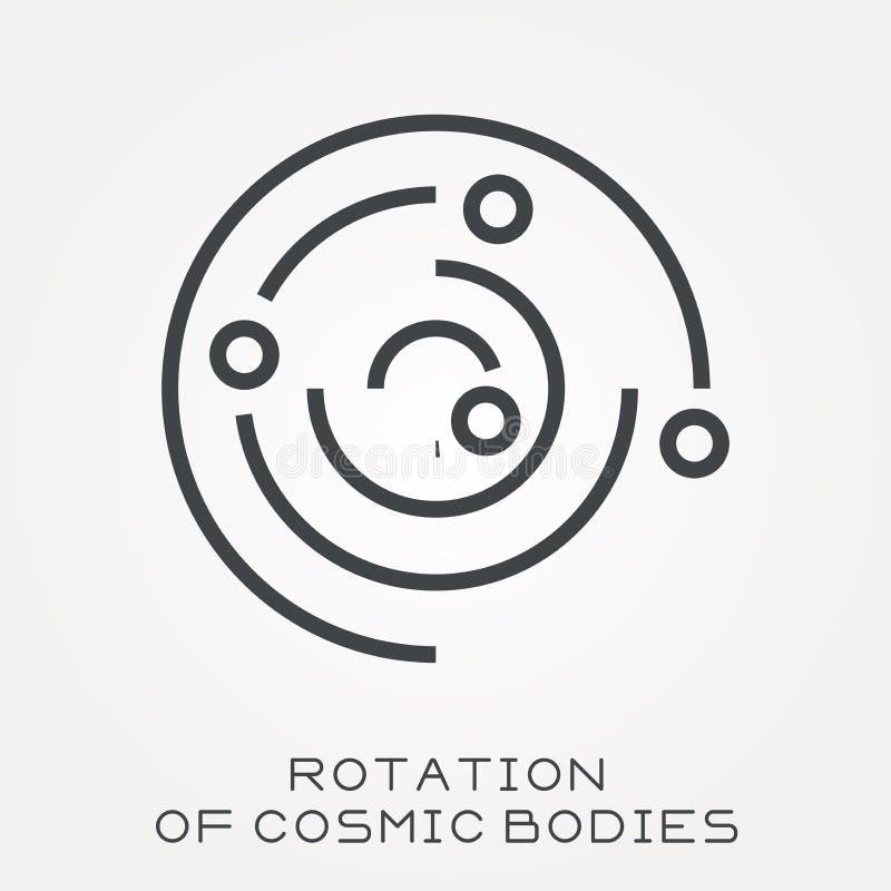 Icônes plates de vecteur avec la rotation des corps cosmiques illustration libre de droits