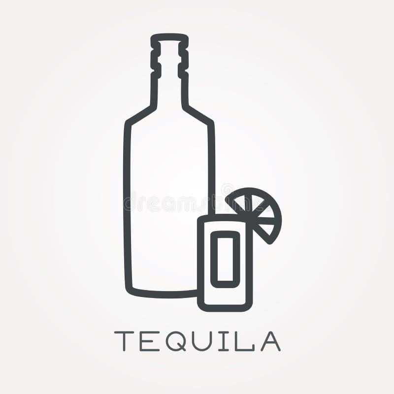 Icônes plates de vecteur avec la tequila illustration de vecteur