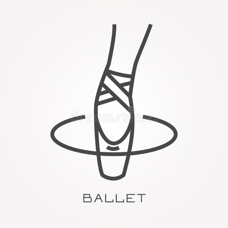 Icônes plates de vecteur avec le ballet illustration stock